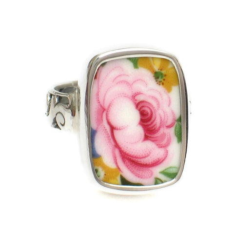 Broken China Jewelry Lady Carlyle Pink Rose Right Facing Closeup Sterling Ring