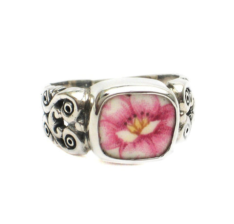 Broken China Jewelry Soft Pink Peony Flower A Sterling Ring