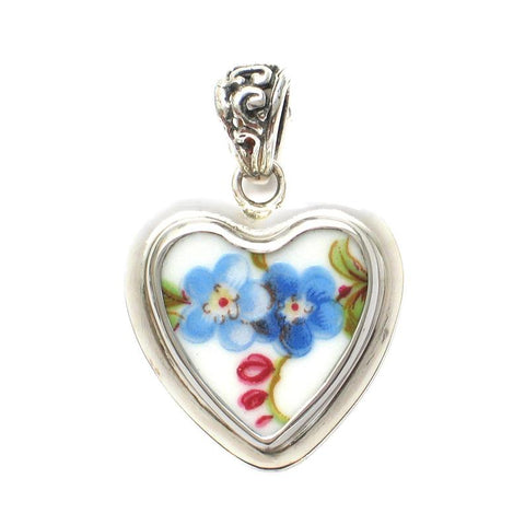 Broken China Jewelry Forget-Me-Not Heart Pendant