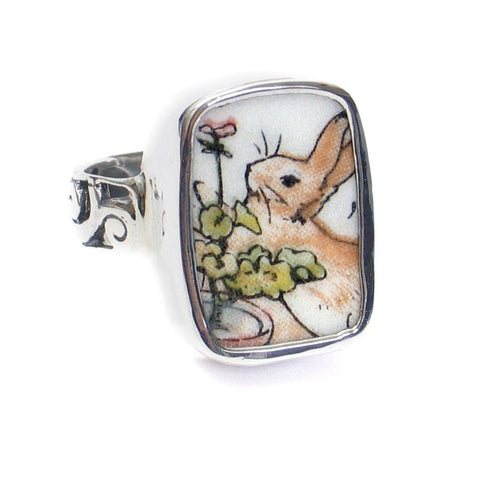 Broken China Jewelry Beatrix Potter Peter Rabbit Geranium Sterling Ring