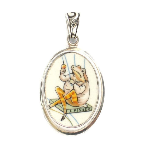 Broken China Jewelry Beatrix Potter Jeremy Fisher Sterling Pendant