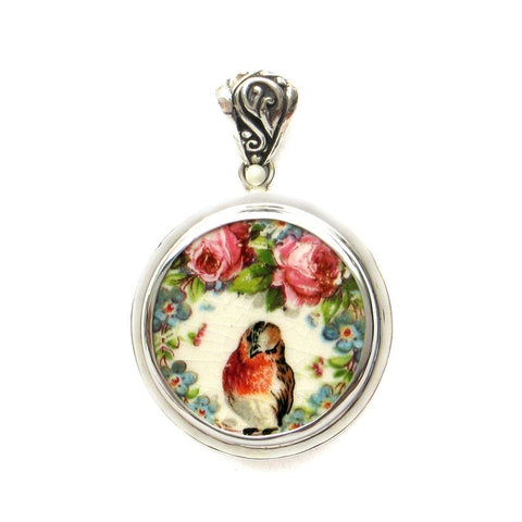 Broken China Jewelry Mount Clemens Robin and Roses Bird Sterling Round Pendant