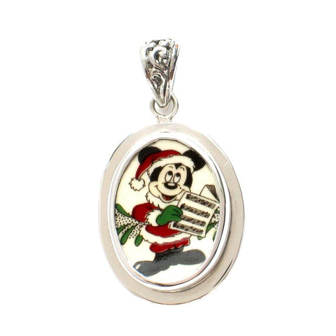 Broken China Jewelry Spode Mickey Mouse Christmas Caroling Sterling Oval Pendant
