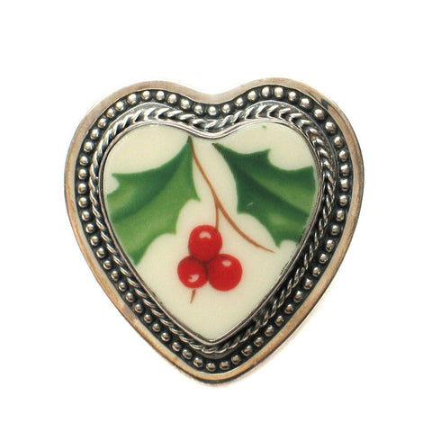 Broken China Jewelry Christmas Winter Holiday Holly B Sterling Heart Brooch Pin Pendant