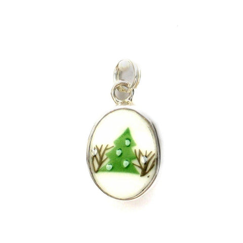 Broken China Jewelry Sleighride Christmas Tree Sterling Holiday Winter Charm