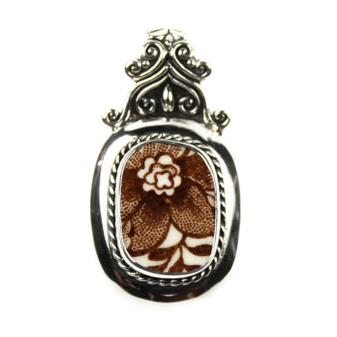Broken China Jewelry - Royal Staffordshire Brown Tonquin - Sterling Silver Pendant