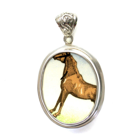 Broken China Jewelry Wedgwood Moroccan Arab Horse Equestrian B Sterling Oval Pendant - Vintage Belle Broken China Jewelry