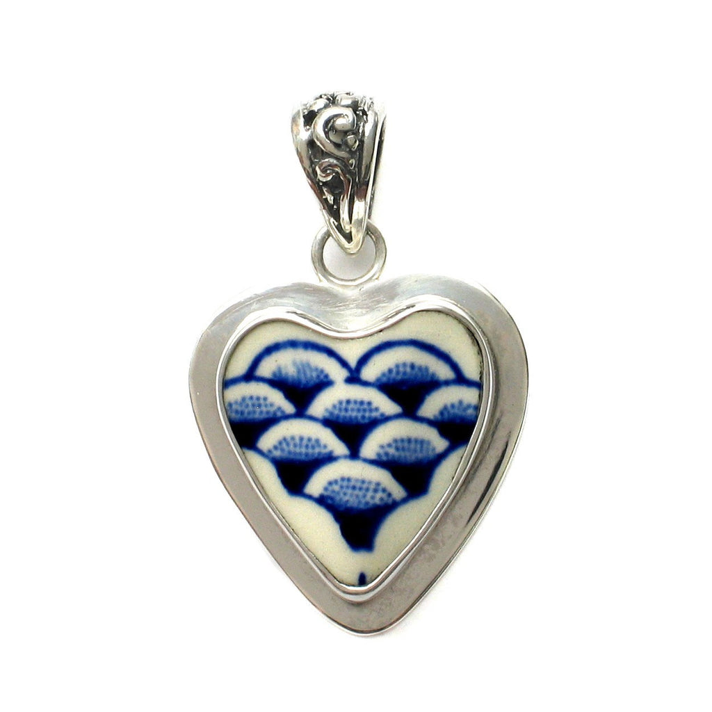 Broken China Jewelry Myott Finlandia Blue and White Scallops Sterling Heart Pendant - Vintage Belle Broken China Jewelry