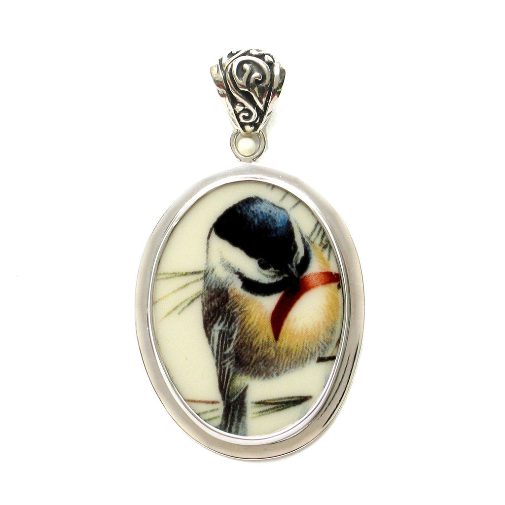 Broken China Jewelry Chickadee Bird C Sterling Oval Pendant - Vintage Belle Broken China Jewelry