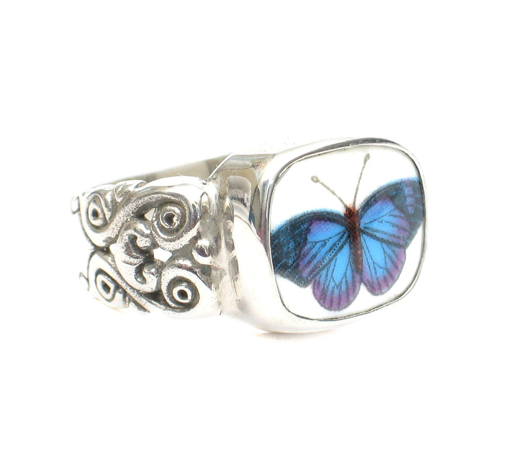 Size 8 Broken China Jewelry Portmeirion Botanic Garden Blue Butterfly Ring