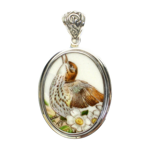 Broken China Boehm Brown Thrasher Bird & Cherokee Rose (Georgia) Sterling Oval Pendant