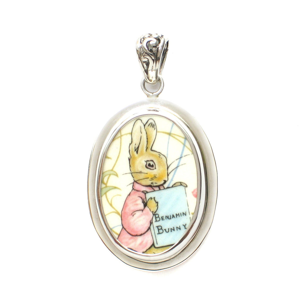 Broken China Jewelry Beatrix Potter Benjamin Bunny Peter Rabbit Sterling Pendant