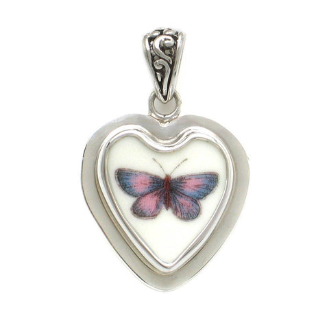 Broken China Jewelry Portmeirion Botanic Garden Lavender & Pink Butterfly Sterling Small Heart Pendant