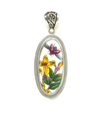 Broken China Jewelry Portmeirion Botanic Garden Ladybug in Flight with Yellow Flowers Tall Oval Sterling Pendant