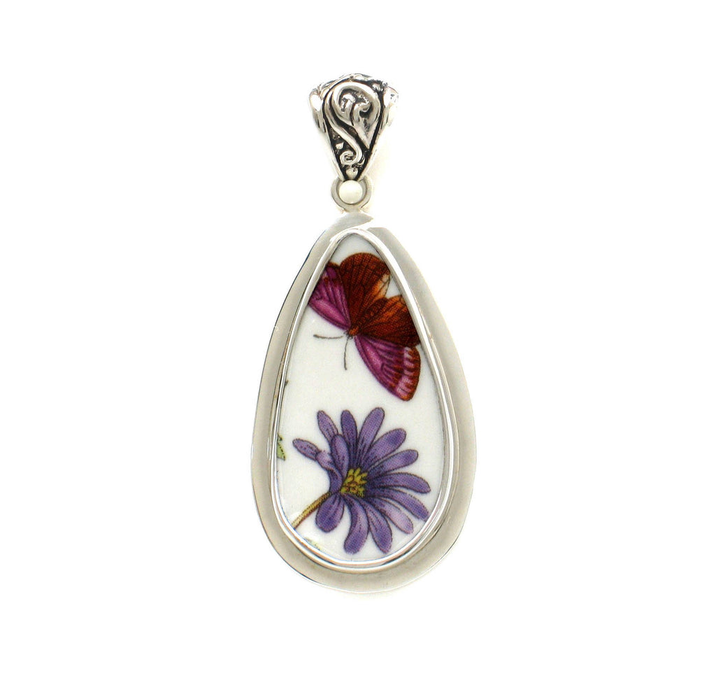 Broken China Jewelry Portmeirion Botanic Garden Butterfly and Open Purple Flower Sterling Tall Drop Pendant
