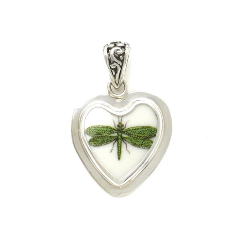 Broken China Jewelry Portmeirion Botanic Garden Green Dragonfly Sterling Heart Pendant