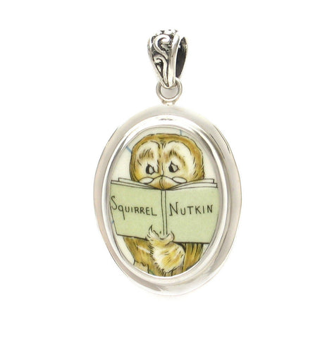Broken China Jewelry Beatrix Potter Mr. Owl Reading Squirrel Nutkin Sterling Oval Pendant