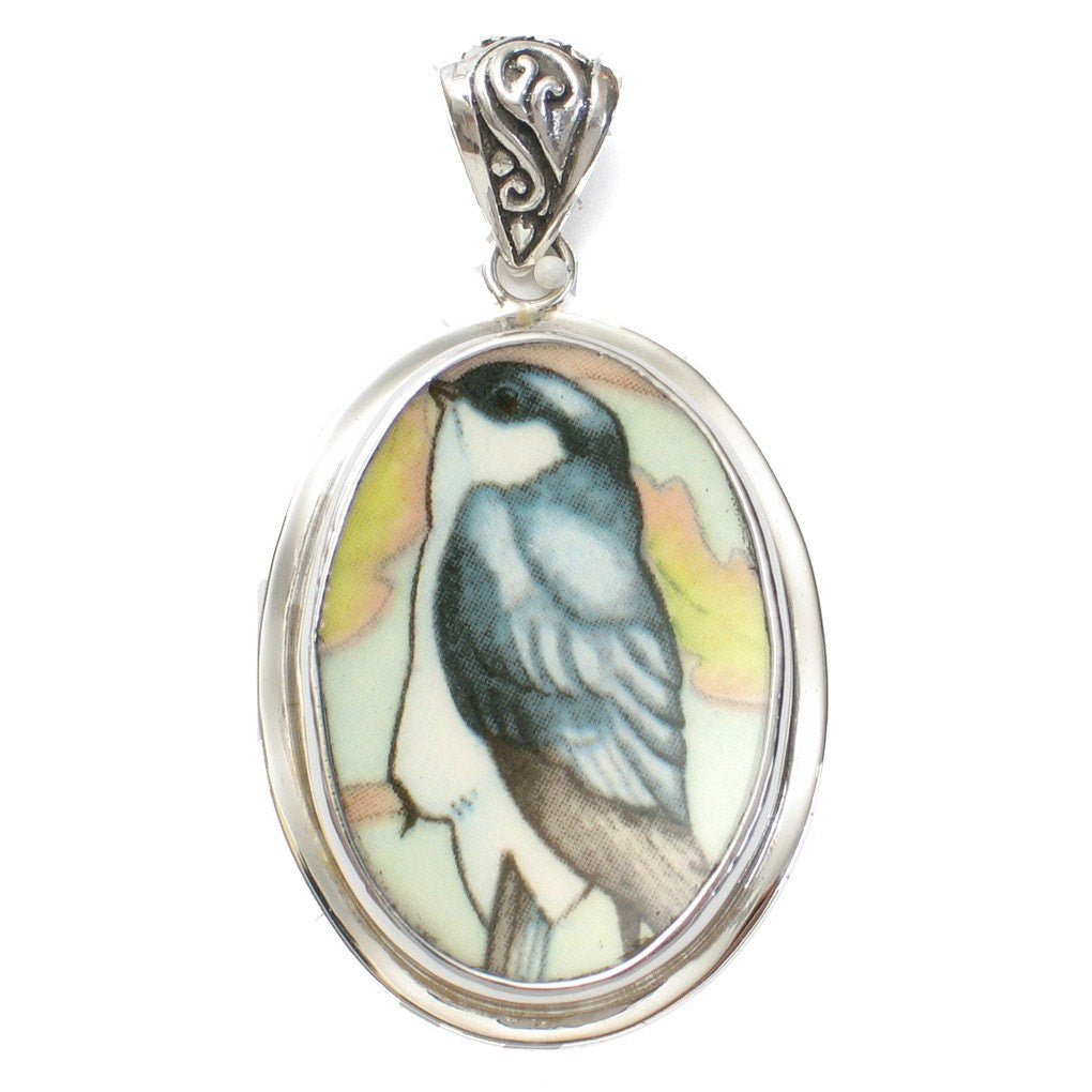 Broken China Jewelry Wedgwood House Martin Bird Sterling Pendant - Vintage Belle Broken China Jewelry