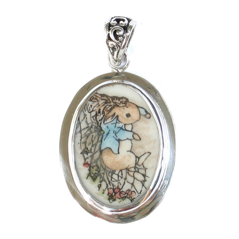 Broken China Jewelry Beatrix Potter Peter Rabbit with Net Sterling Pendant - Vintage Belle Broken China Jewelry