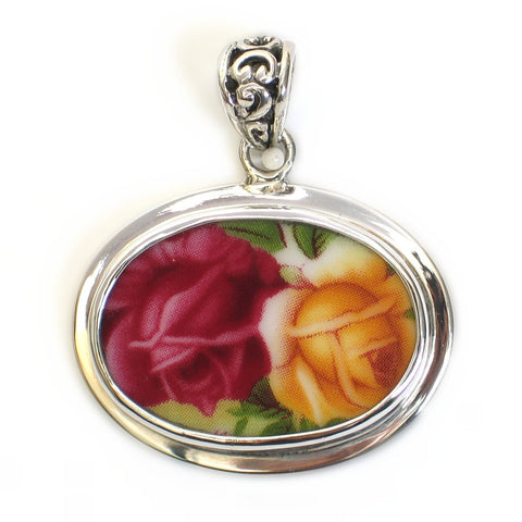 Broken China Jewelry Old Country Roses Red Yellow Double Rose Close Up Sterling Horizontal Oval Pendant - Vintage Belle Broken China Jewelry