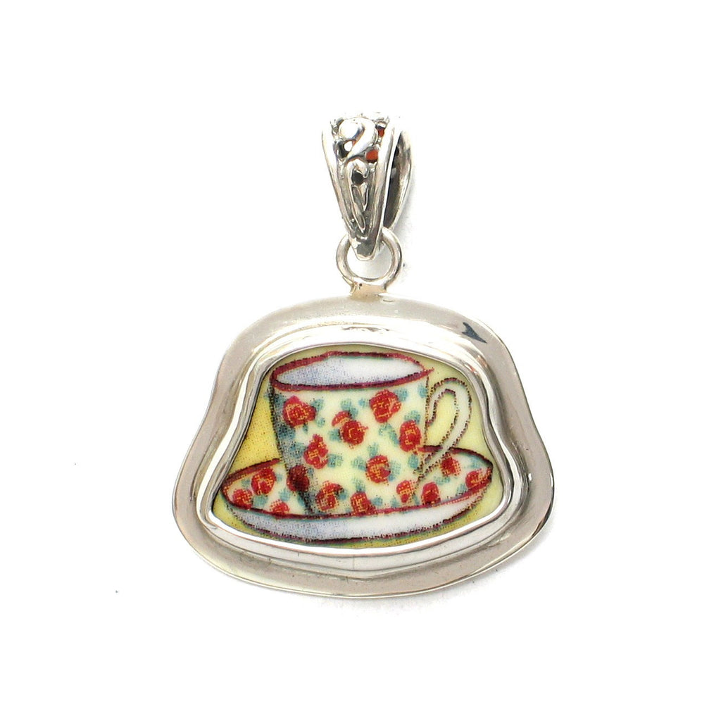 Broken China Jewelry Duchess Teacup Rose Chintz Tea Cup Sterling Pendant - Vintage Belle Broken China Jewelry