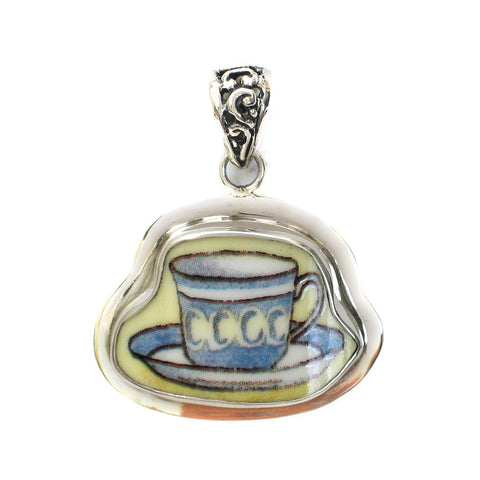Broken China Jewelry Duchess Teacup Blue Gray with Yellow Ovals Tea Cup Sterling Pendant - Vintage Belle Broken China Jewelry