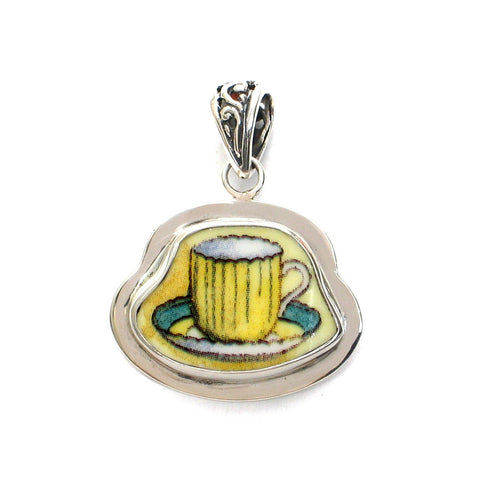 Broken China Jewelry Duchess Teacup Yellow Tea Cup with Green Rim Saucer Sterling Pendant - Vintage Belle Broken China Jewelry