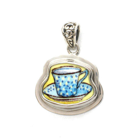 Broken China Jewelry Duchess Teacup Blue and Yellow Speckled Tea Cup Sterling Pendant - Vintage Belle Broken China Jewelry