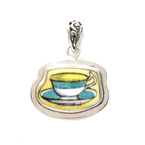 Broken China Jewelry Duchess Teacup Green Rim Tea Cup and Saucer Sterling Pendant - Vintage Belle Broken China Jewelry