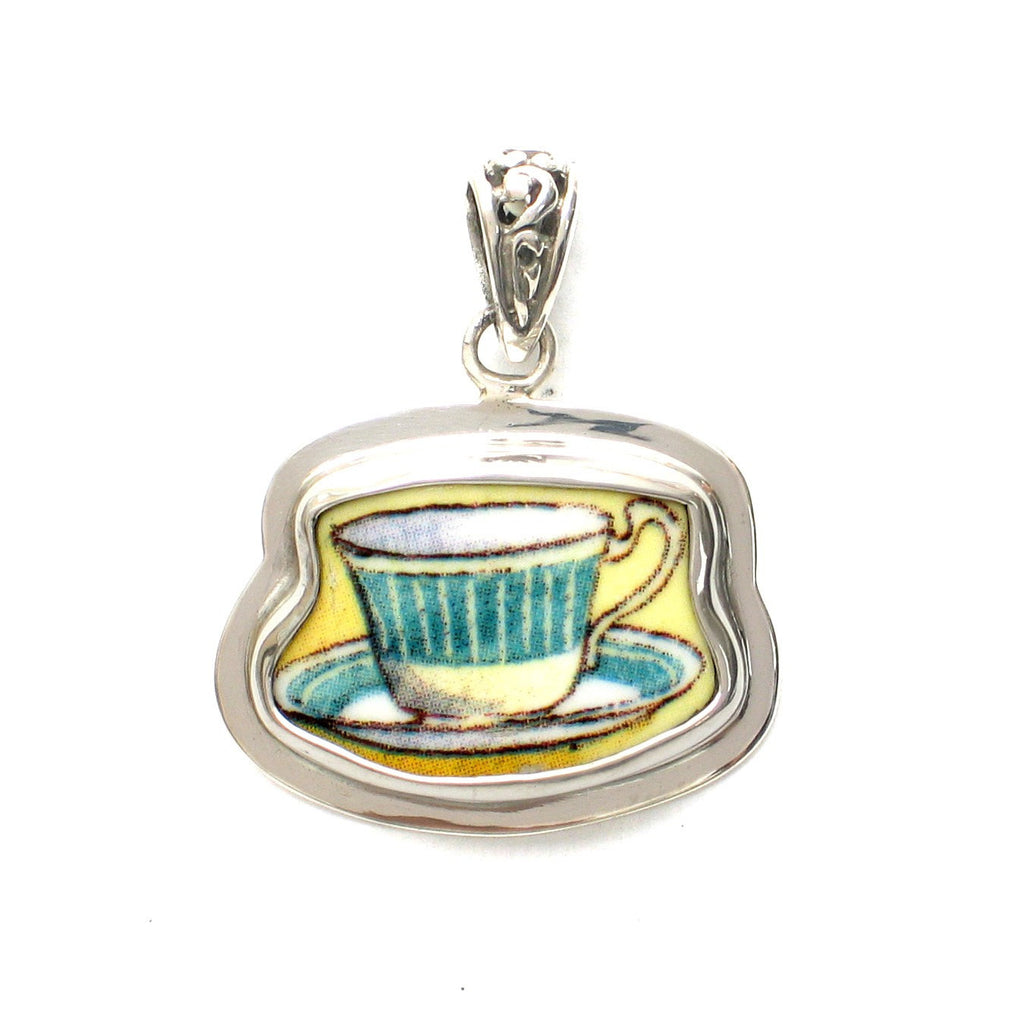 Broken China Jewelry Duchess Teacup Green Striped Tea Cup Sterling Pendant - Vintage Belle Broken China Jewelry