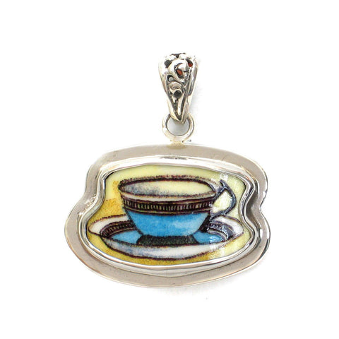 Broken China Jewelry Duchess Teacup Blue Tea Cup and Saucer Sterling Pendant - Vintage Belle Broken China Jewelry