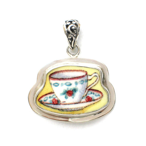 Broken China Jewelry Duchess Teacup Single Rose Tea Cup Sterling Pendant - Vintage Belle Broken China Jewelry