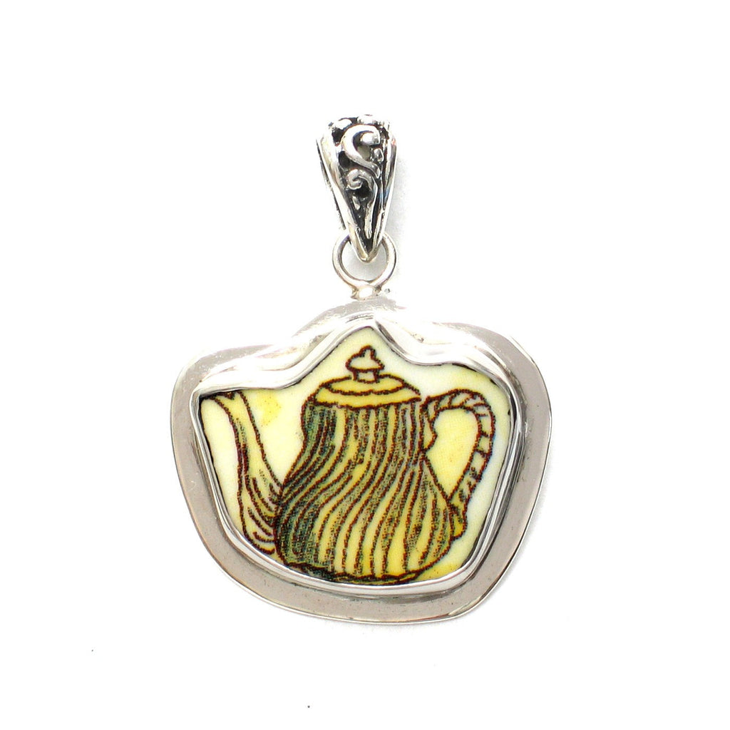 Broken China Jewelry Duchess Teapot Yellow Swirl Tea Pot Sterling Pendant - Vintage Belle Broken China Jewelry