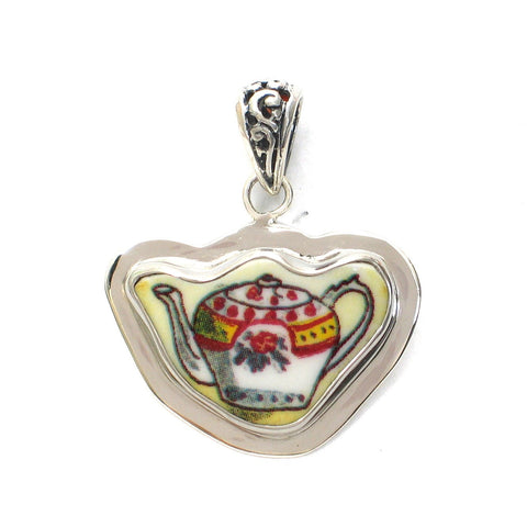 Broken China Jewelry Duchess Teapot Single Rose Tea Pot Sterling Pendant - Vintage Belle Broken China Jewelry