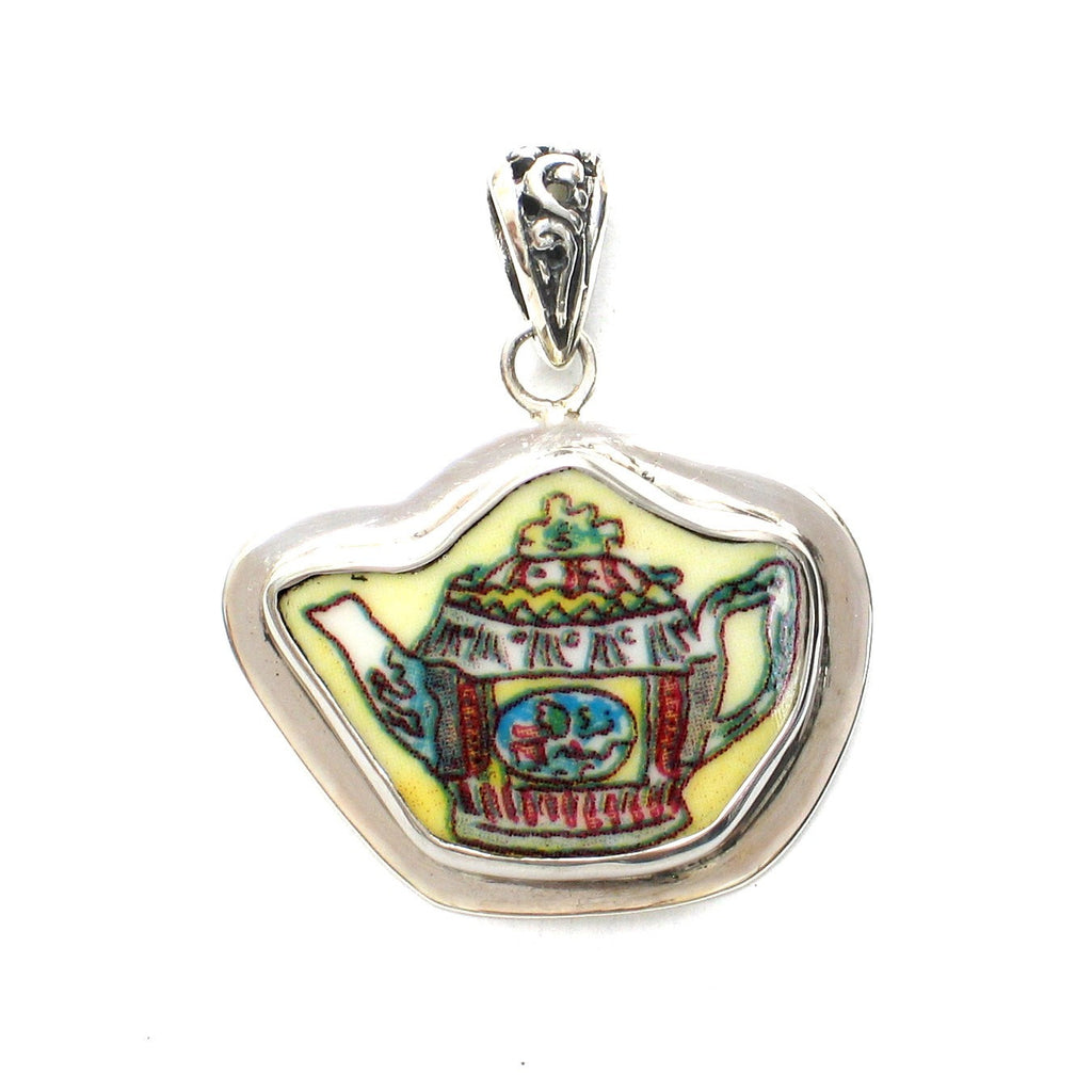 Broken China Jewelry Duchess Teapot Multicolored Hexagon Tea Pot Sterling Pendant - Vintage Belle Broken China Jewelry