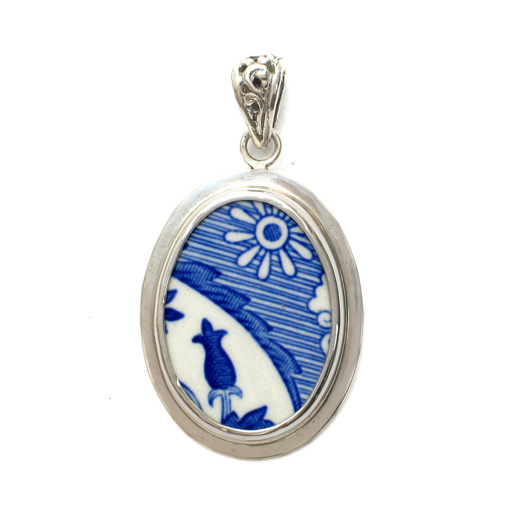 Broken China Jewelry Spode Blue Italian Abstract Sterling Pendant - Vintage Belle Broken China Jewelry