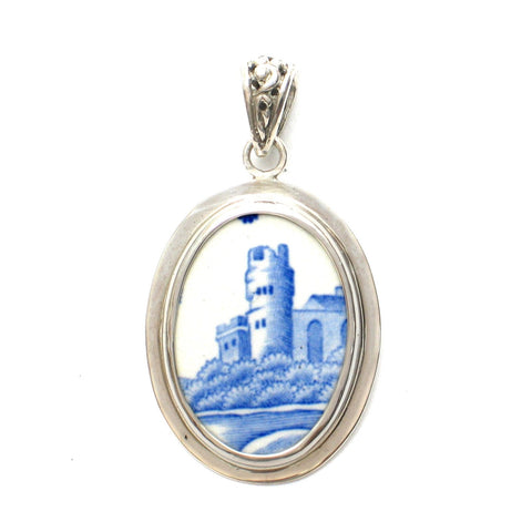 Broken China Jewelry Spode Blue Italian Castle Tower Sterling Oval Pendant - Vintage Belle Broken China Jewelry