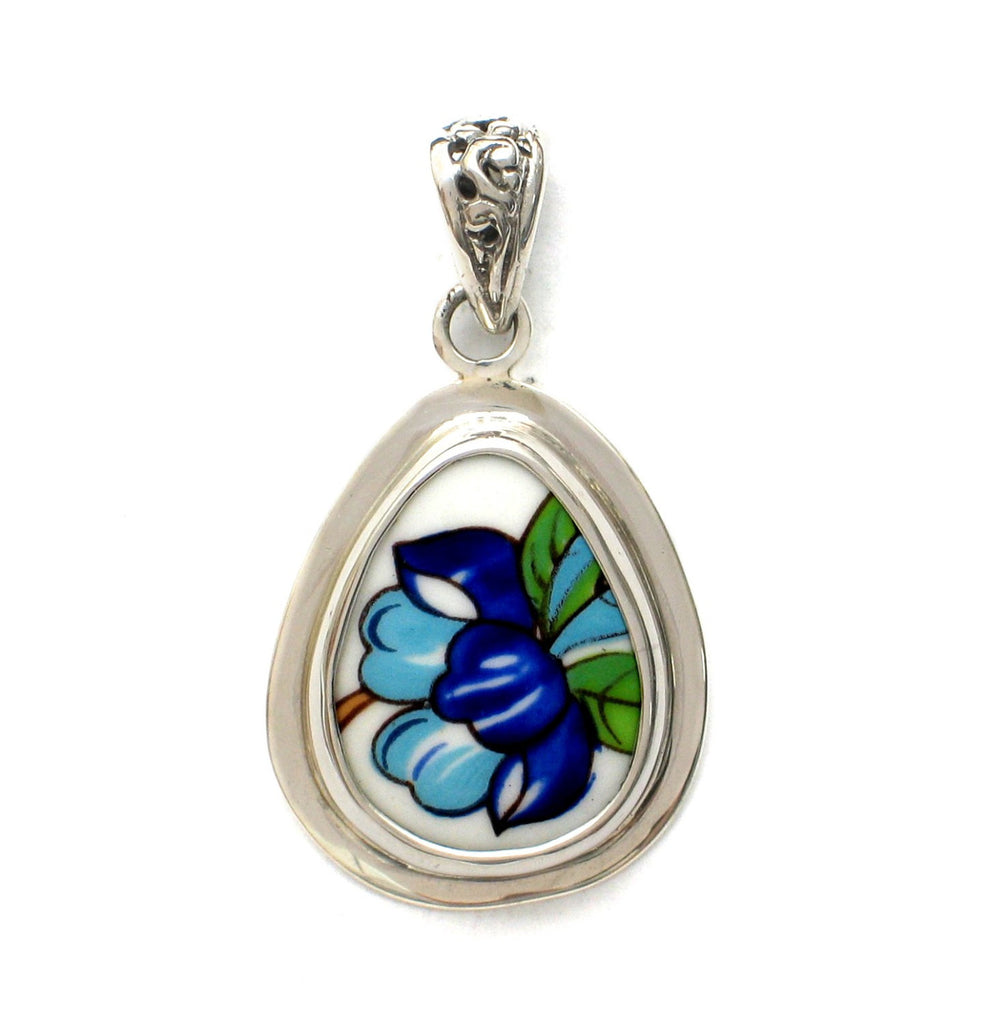 Broken China Jewelry Aynsley Pembroke Blue Flower Sterling Drop Pendant - Vintage Belle Broken China Jewelry