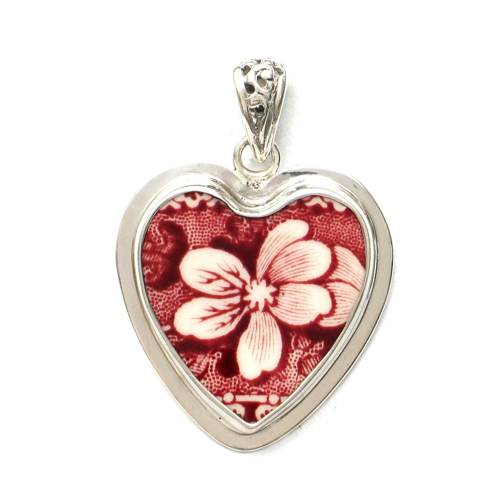 Broken China Jewelry Spode Pink Tower Red Transferware Flower Sterling Heart Pendant