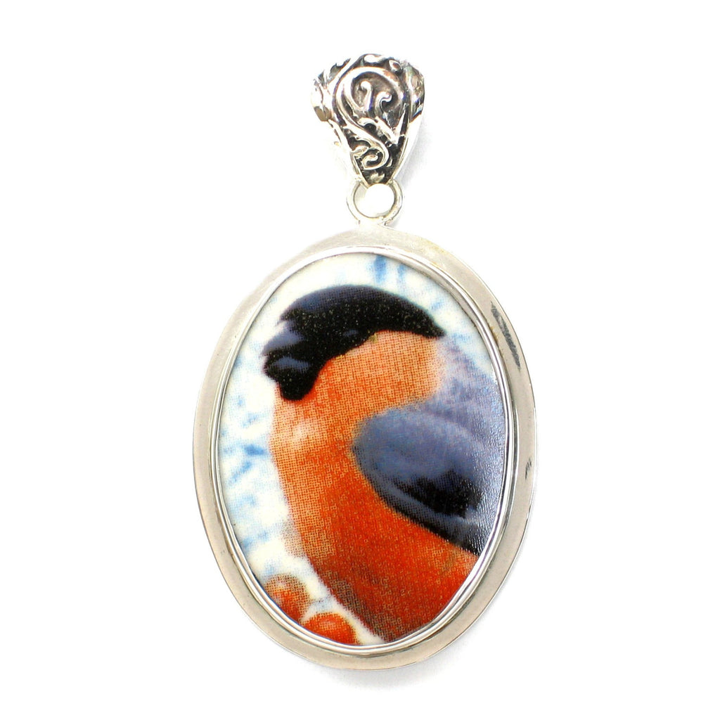 Broken China Jewelry Bullfinch Bull Finch Bird Sterling Oval Pendant - Vintage Belle Broken China Jewelry
