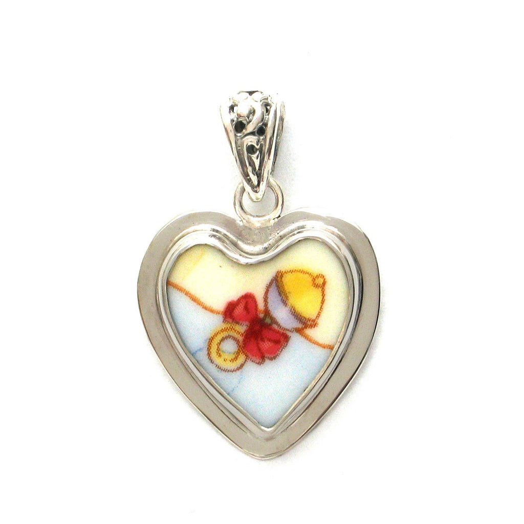 Broken China Jewelry Royal Doulton Baby Rattle Bow Sterling Heart Pendant - Vintage Belle Broken China Jewelry