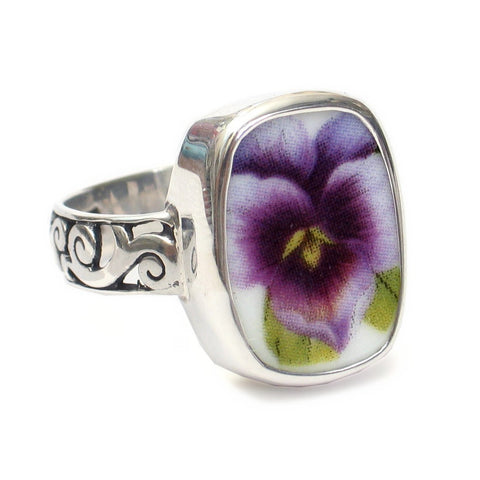 Size 12.5 Broken China Jewelry Purple Pansy Flower Thin Band Sterling Ring - Vintage Belle Broken China Jewelry