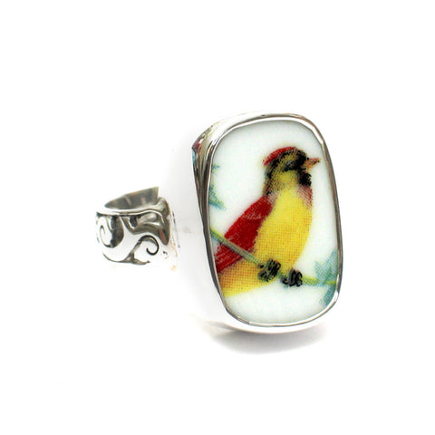Size 12 Broken China Jewelry Female Lady Cardinal Bird Sterling Ring - Vintage Belle Broken China Jewelry