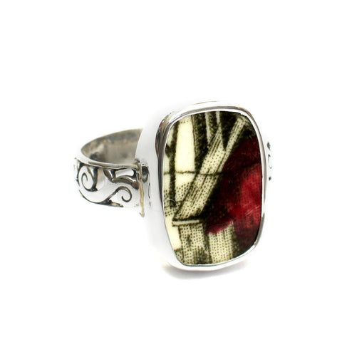 Size 11.5 Broken China Jewelry Johnson Bros Friendly Village Red Barn Sterling Ring - Vintage Belle Broken China Jewelry