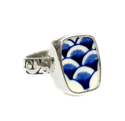 Size 7 Broken China Jewelry Myott Finlandia Blue Scallops Sterling Ring - Vintage Belle Broken China Jewelry