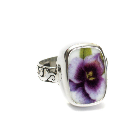 Size 12 Broken China Jewelry Purple Pansy Flower Facing Up Thin Band Sterling Ring - Vintage Belle Broken China Jewelry