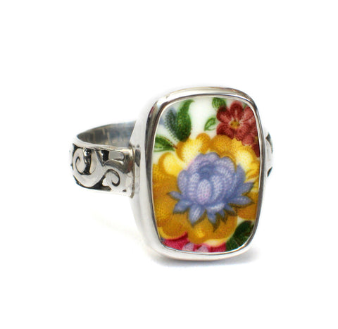 Size 12 Broken China Jewelry  Lady Carlyle Yellow and Blue Flower Facing Up Sterling Ring - Vintage Belle Broken China Jewelry
