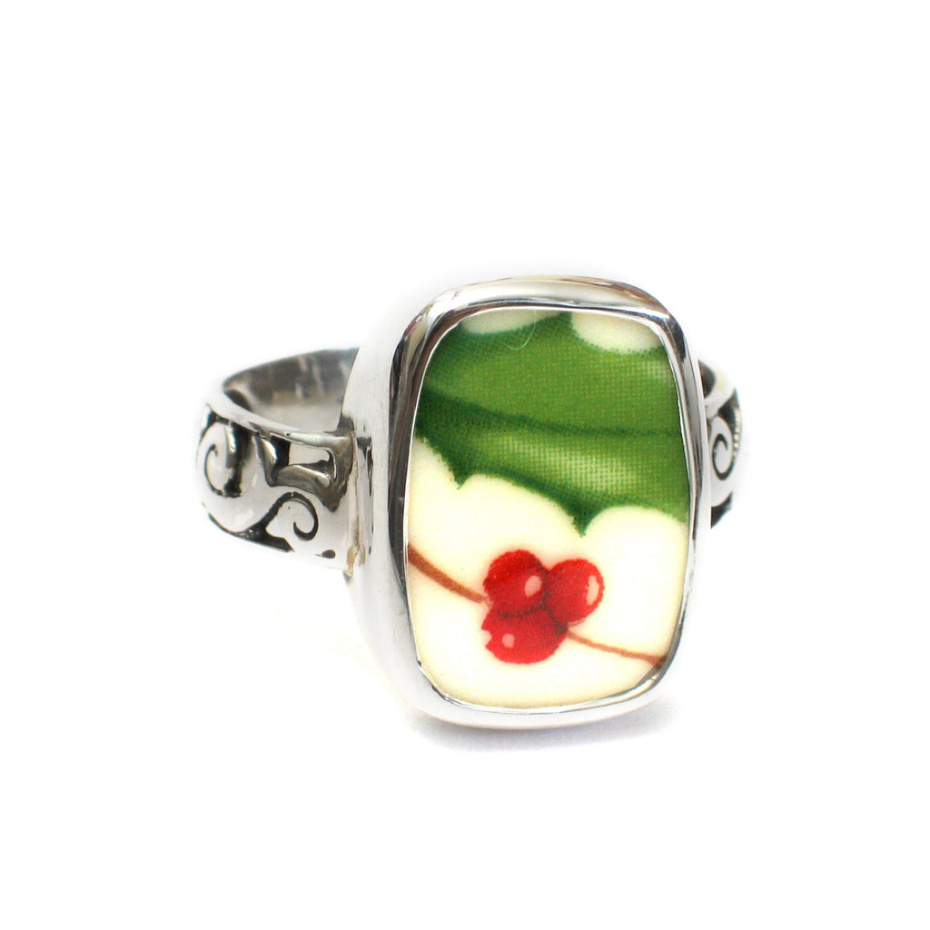 Size 12.5 Broken China Jewelry Holiday Holly Pattern B Sterling Ring - Vintage Belle Broken China Jewelry