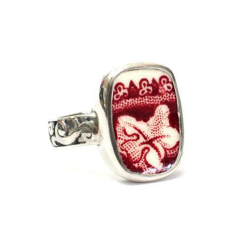 Size 12.5 Broken China Jewelry Mason's Vista Pink Red Botanical Leaf D Sterling Ring - Vintage Belle Broken China Jewelry