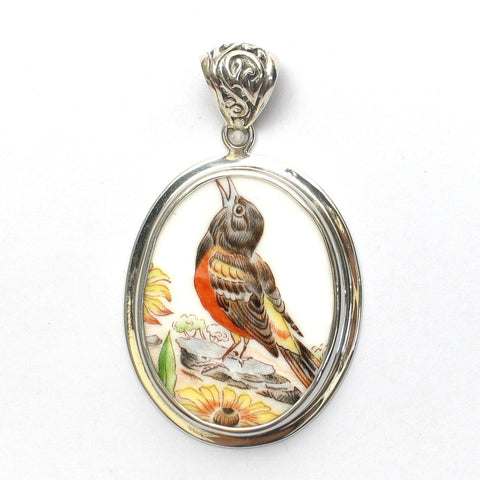 Broken China Boehm Baltimore Oriole Bird & Black-Eyed Susan Flower (Maryland) Sterling Oval Pendant